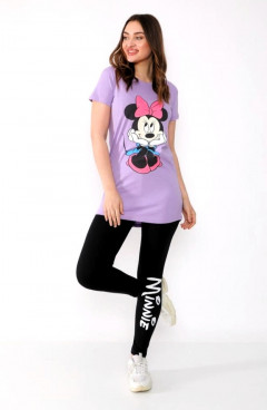 MINNIE Ladies Turkey 3Pcs Pyjama Set (PURPLE - BLACK)(S - M - L - XL)
