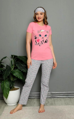 CALIMERA Ladies Turkey 3Pcs Pyjama Set (PINK - GRAY) (S - M - L - XL)