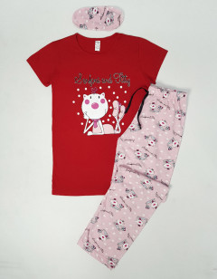 NORMAL Ladies Turkey 3Pcs Pyjama Set (RED-PINK) (S - M - L - XL)