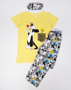NORMAL Ladies Turkey 3 Pcs Pyjama Set (YELLOW- WHITE) (S - M - L - XL)