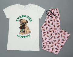 STARPUGS AND COFFEE Ladies Turkey 2Pcs Pyjama Set (WHITE - PINK) (S - M - L - XL)