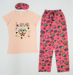 LOVE YOU Ladies Turkey 3 Pcs Pyjama Set (PINK) (S - M - L - XL)