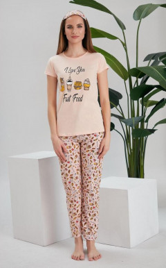 LOVE YOU Ladies Turkey 3 Pcs Pyjama Set (LIGHT PINK) (S - M - L - XL)
