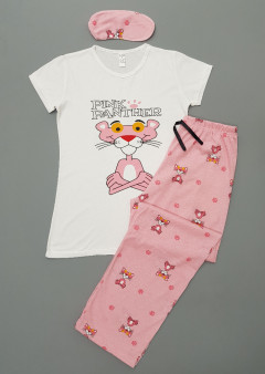 PINK FANTHER Ladies Turkey 3Pcs Pyjama Set (PINK - WHITE) (S - M - L - XL)