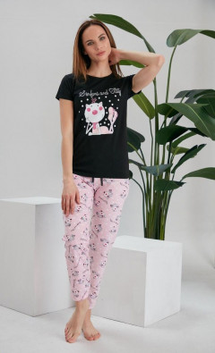 NORMAL Ladies Turkey 3 Pcs Pyjama Set (NLACK - PINK) (S - M - L - XL)
