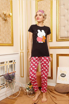 Ladies Turkey 3 Pcs Pyjama Set (PINK - BLACK) (S - M - L - XL)