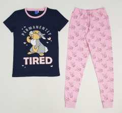 DISNEY Ladies 2 Pcs Pyjama Set (NAVY - PINK) (S - M - L - XL)