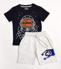 PEBBLES Boys 2 Pcs T-Shirt & Shorty Set ( BLACK - LIGHT GRAY) ( 2 to 10 Years)