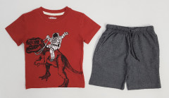 PEBBLES Boys 2 Pcs Shorty Set (RED -GRAY) (2 to 10 Years)