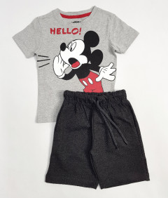 PEBBLES Boys 2 Pcs T-Shirt & Shorty Set ( GRAY - BLACK) ( 2 to 10 Years)