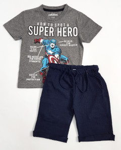 PEBBLES Boys 2 Pcs T-Shirt & Shorty Set ( GRAY - NAVY) ( 2 to 10 Years)