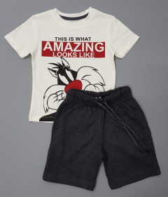 PEBBLES Boys 2 Pcs T-Shirt & Shorty Set ( WHITE - DARK GRAY ) ( 2 to 10 Years)
