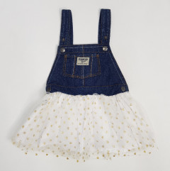 Girls Frock (DARK BLUE - WHITE) (12 to 36 Months)
