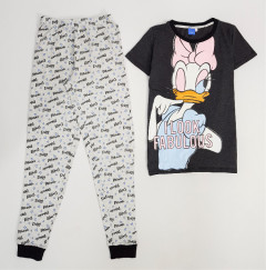 DISNEY Ladies 2 Pcs Pyjama Set (BLACK - LIGHT GRAY) (S - M - L - XL)