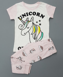 Girls 2 Pce Pyjama Set ( WHITE - PINK ) ( 2 to 10 Years )