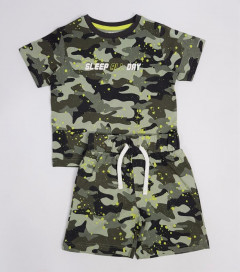 Boys 2 Pcs Shorty Set (ARMY) (4 to 13 Years)