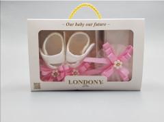 Baby girls pearl satin shoes, headband & tights set