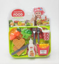 Tableware Food Role Playing Playset with Small Cutlery Toy