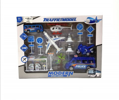Popular toy airport set small metal toy cars and plane model