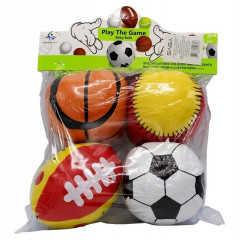 Set Of 4 Inflatable Sports Balls For Kids