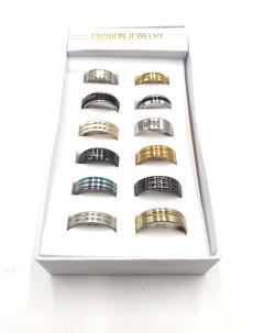finger rings 12 Pcs gold black silver color men's stainless steel