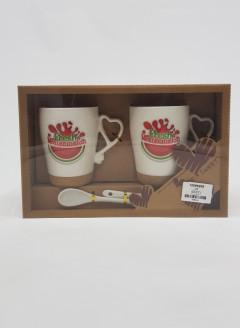 Tea and Coffee Mugs with Heart Shape Handle – Set of 2